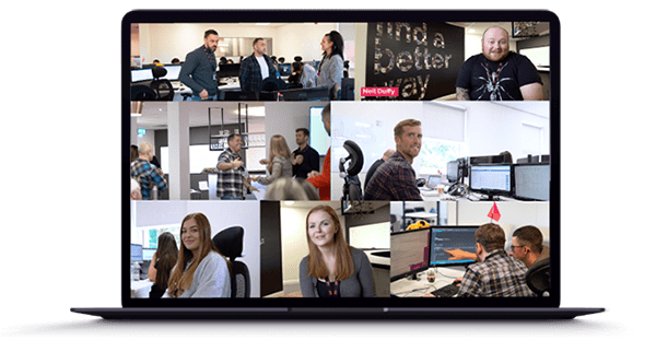 Montage of the Talos development & support team in the Talos head office.